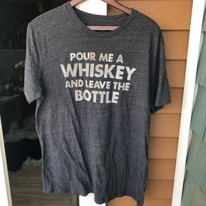 Lucky Brand Graphic T-Shirt Whiskey Alcohol Gray